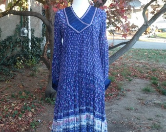 70's Vintage Indian Dress Cotton Gauze Block Print Hippie Festival PURPLE