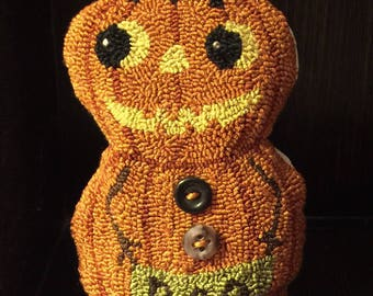 Primitive Needle Punch Pillow Doll Fall Boo Pumpkin