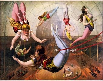 """Vintage Circus Poster """"Lady Acrobats"""" Vintage French Circus Print - Victorian Carnival Bright Cheerful Color"""
