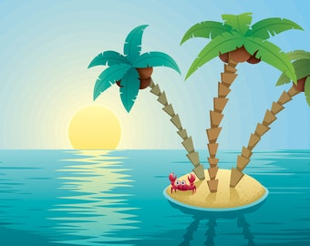 Small Island Landscape Sunrise - Vector Cartoon Illustration. tropical, exotic, background, sunrise, dawn, palm tree, ocean, tropical island