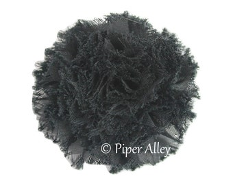 "Black, Chiffon Puff Flower, Shabby Chic Mini Flower, 2.2"" Small Fabric Flower"