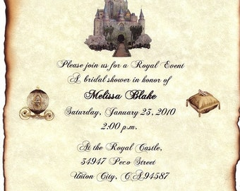 custom order - 1 wk - qty 75 Cinderella FairyTale Castle Wedding Invitation Scrolls and rsvp