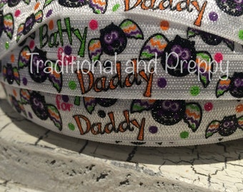 """7/8"""" HALLOWEEN FOE Glitter Batty For Daddy Fold Over Elastic sold by the yard"""