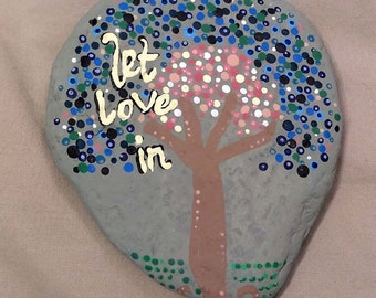 Acrylic Painted River Rock / Tree / Love