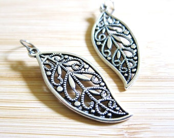 Leaf Filigree Earrings Tibetan Silver