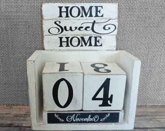 Block Calendar Perpetual Farmhouse Home Sweet Home Personalized