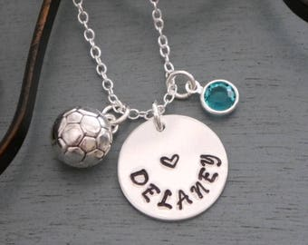 Soccer Ball Necklace, Soccer Name Necklace, Personalized Soccer Necklace, Name Number Necklace, Soccer Jewelry, Soccer Gifts, Custom