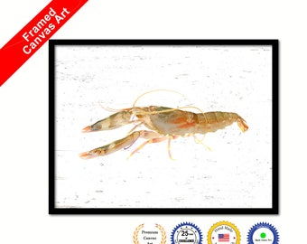 Brown Shrimp Painting Marine Life Home Wall Art Decorative Framed Canvas Print  Gift Office Handcrafted Colorful wall Hanging