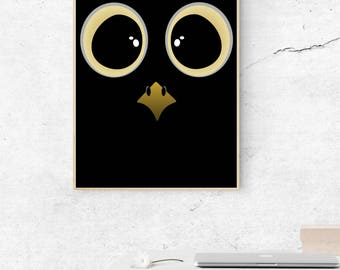 Owl poster, digital poster, instant download, print your poster, funny owl, wall decoration, big eyes, cute, animal poster, bird