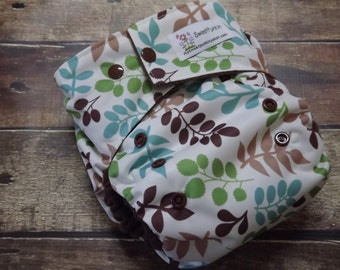 One Size Pocket Cloth Diaper Leaves 15-40 lbs PUL