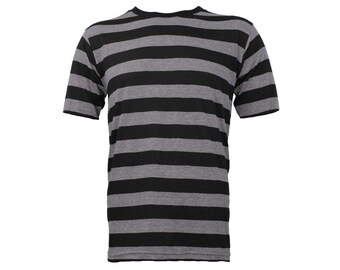 Men's Short Sleeve Black & Stone Grey Striped Shirt