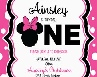 Hot Pink Minnie Mouse Invitation