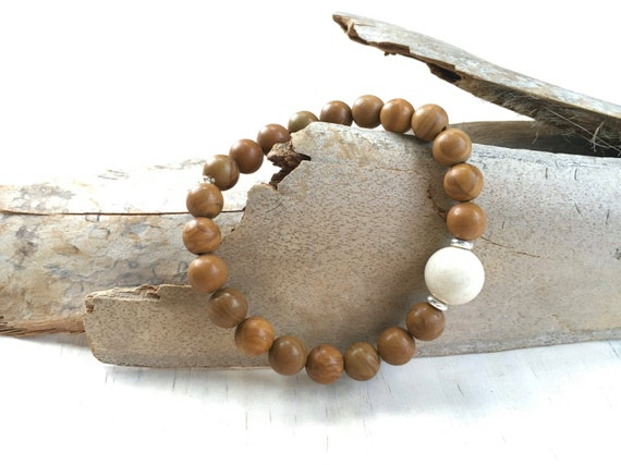 Riverstone Beaded Bracelet, Natural Boho Style Bracelet, Hippie Jewelry, Trending Stacking Bracelet, Yoga Jewelry, Healing Stone Jewelry