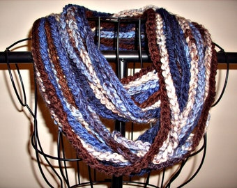 Soft Hand Crocheted Strand Scarf in Blues and Browns