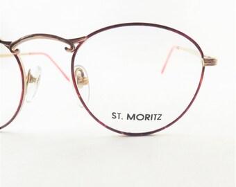 Womens Round Eyeglasses in Red Tortoise Shell, Preppy Iridescent Oval Round Gold Metal Frames, Vintage Eyewear