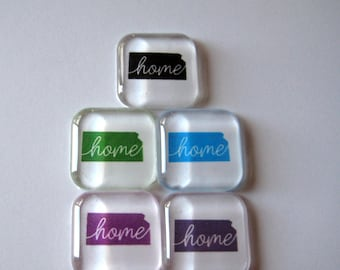 Home Choose Your State Square Glass Magnets Set of 5