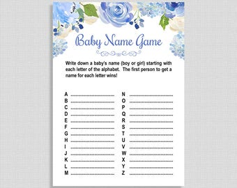Baby Name Game Baby Shower Game, Blue Watercolor Floral Shower Activity, DIY Printable, INSTANT DOWNLOAD