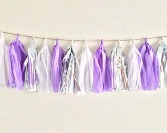 Purple & Silver Tassel Garland