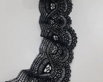 Black lace Trimming, French Lace, Alencon Lace, Bridal gown lace, Wedding Lace, Garter lace, Evening dress lace, Lingerie Lace by FL47911