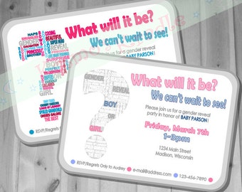 Gender Reveal Invite / Gender Reveal Party Invite / Gender Reveal Ideas / Gender Reveal Shower Invite- Digital File (Customizable/Printable)