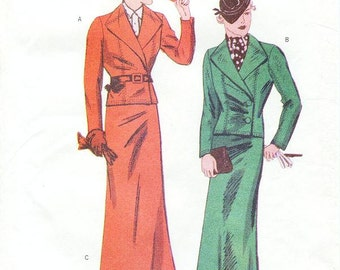 SZ 12/14/16 - Misses' Cropped Wrap Jacket and Long A-Line Skirt - Vintage 1936 Reissued Pattern - Butterick 6330