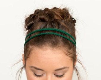 Emerald Green Double Strand, Crochet Headband, Boho Style, Music, Festival, Stretchy Elastic Hairband Handmade, Chain