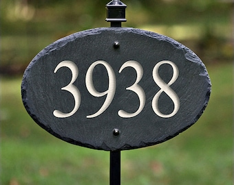 STONE House Numbers Address Plaque / LAWN STAKE / Carved / Marker /Slate / Sign #E-8c