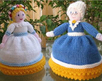 Traditional toy Young - Old topsy-turvy dolls. Knitted toy. Made to order.