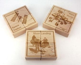 Space Explorer Jumbo Wooden Puzzle Blocks - 12 pc. Set