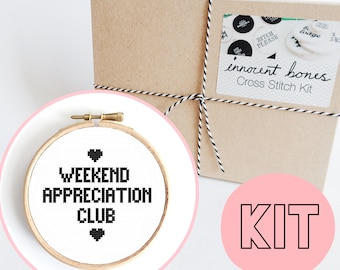 Weekend Appreciation Club Modern Cross Stitch Kit - easy chart design guide & supplies - embroidery kit bad taste popculture