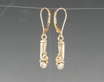 14ky Gold 3 mm Moissanite Dangle Earrings/ Victorian Gold Earrings/ Egyptian Gold Earrings/ One of a Kind/ Diamond Alternative/ Scrolls
