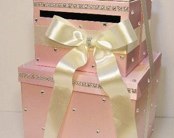 Wedding Card Box LARGE Size  2 Tier Light Pink and Ivory Gift Card Box Money Box  Holder--Customize your color (LARGE SIZE)