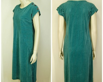 80s 90s Straight Pullover Dress/Tunic with Side Slit Cap Sleeves Aquamarine Turquoise Below Knee Bust 34 Column Dress Easy Care Fairweather