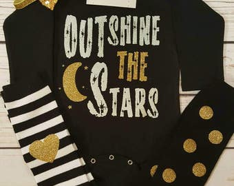 Baby Girl Clothes,  Outshine The Stars Bodysuit, Infant outfit