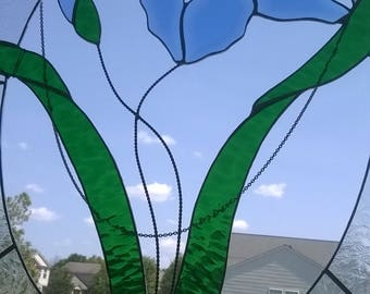 Large Rare Iris Stained Glass