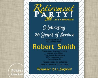 Navy Blue Retirement Invitation Farewell Celebration Gold Masculine Invitation Surprise Invitation Printable Invite 5x7 Digital JPG File 7a