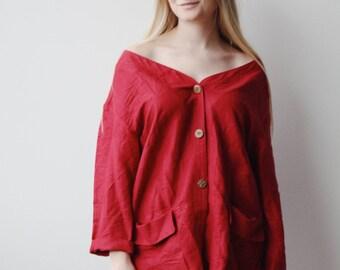 ROSALIND BLOUSE | Vintage red linen tunic blouse | vintage blouse | linen blouse | ABLE shoppe
