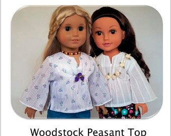 Pixie Faire Flossie Potter Woodstock Peasant Top Doll Clothes Pattern for 18 inch AG Dolls - PDF