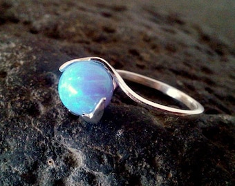 SALE! Opal ring,sterling silver ring,birthday gift for her,ball ring, romantic gift ideas, everyday rings,blue opal jewelry