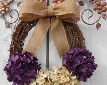 Easter wreath, Hydrangea wreath, Grapevine wreath, Floral wreath, Spring wreath, Summer wreath, Everyday wreath, Fall wreath