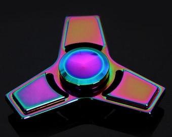 EDC Tri Fidget Hand Spinner Rainbow Torqbar Focus Gyro Finger Toy, Stress reliever, Spinner, metal spinner, Stress Hand Toy