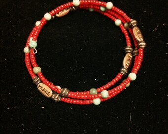 Beaded Christmas Bracelet, Red Green and Gold Beaded, Memory Wire Bracelet, Ready to Ship, Holiday Jewelry
