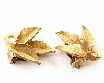 Leaf Clip Earrings, Goldtone Clip On Earrings