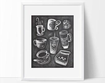 Chalkboard Art, Coffee Art, Kitchen Art, Coffee Art Printable, Chalkboard Lettering, Chalkboard Art Print, Coffee Lovers Art, Drink Me Art.