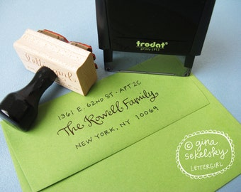 Handwritten Abbey Address Stamp:  your choice of self-inking or red rubber