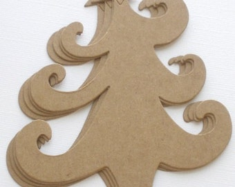 """PRiMiTiVE  TREE - Curly Christmas Trees Bare Chipboard Die Cuts - 4"""" x 5"""""""