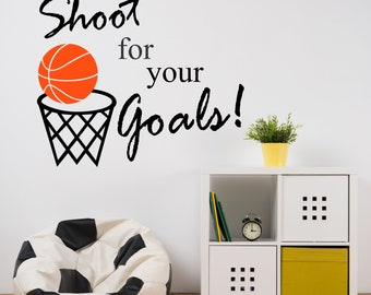 Basketball Shoot for your Goals, Vinyl Wall Lettering, Vinyl Wall Decals, Vinyl Decals, Vinyl Lettering, Wall Decals, Sports Decal