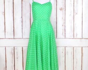 Vintage Ned Gould green/white polka dot sun dress/sheer gauzy green day dress/retro style dress
