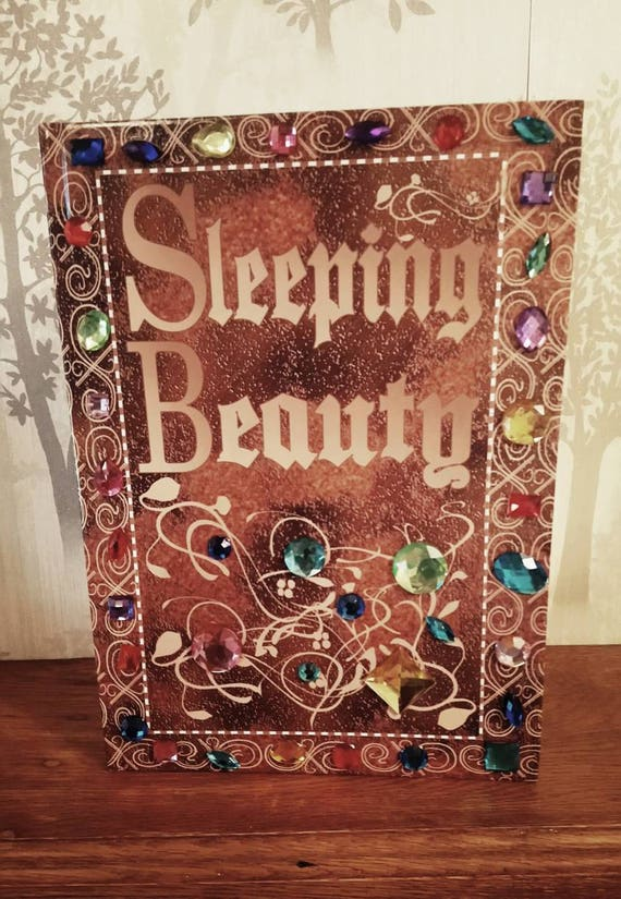 sleeping beauty old fashioned book personalised wedding guest