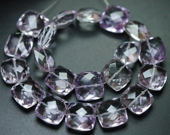 8 Inch Strand,Finest Quality,Natural Pink Amethyst Faceted Cushion Shape,10mm Long,Great Quality